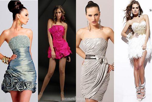 Выпускное платье 2012, короткие силуэты и фото платьев на выпускной.