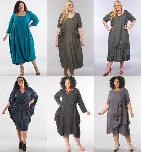 Платья для полных девушек, фото модных фасонов платьев